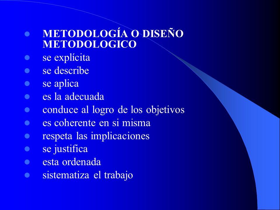 METODOLOGÍA O DISEÑO METODOLOGICO se explícita se describe se aplica es la adecuada conduce al logro de los objetivos es coherente en si misma respeta