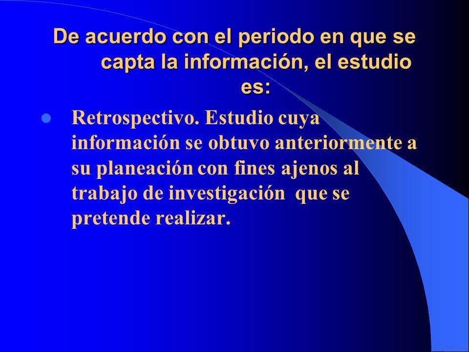 De acuerdo con el periodo en que se capta la información, el estudio es: Retrospectivo. Estudio cuya información se obtuvo anteriormente a su planeaci