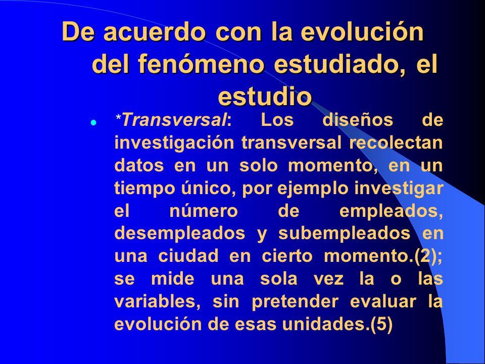 De acuerdo con la evolución del fenómeno estudiado, el estudio * Transversal: Los diseños de investigación transversal recolectan datos en un solo mom