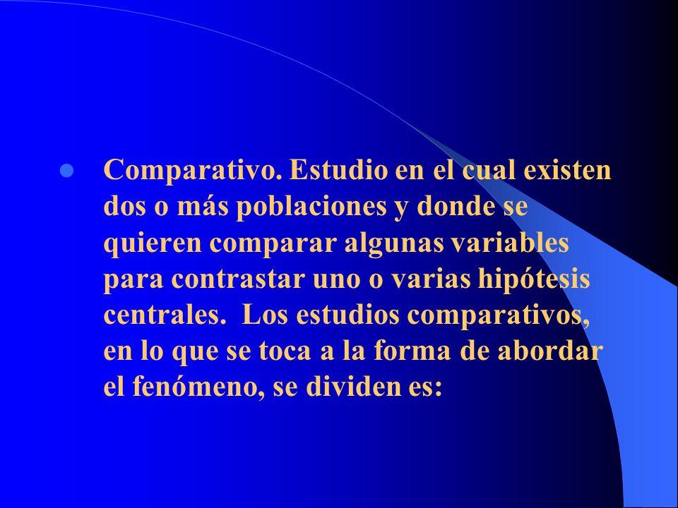 Comparativo. Estudio en el cual existen dos o más poblaciones y donde se quieren comparar algunas variables para contrastar uno o varias hipótesis cen