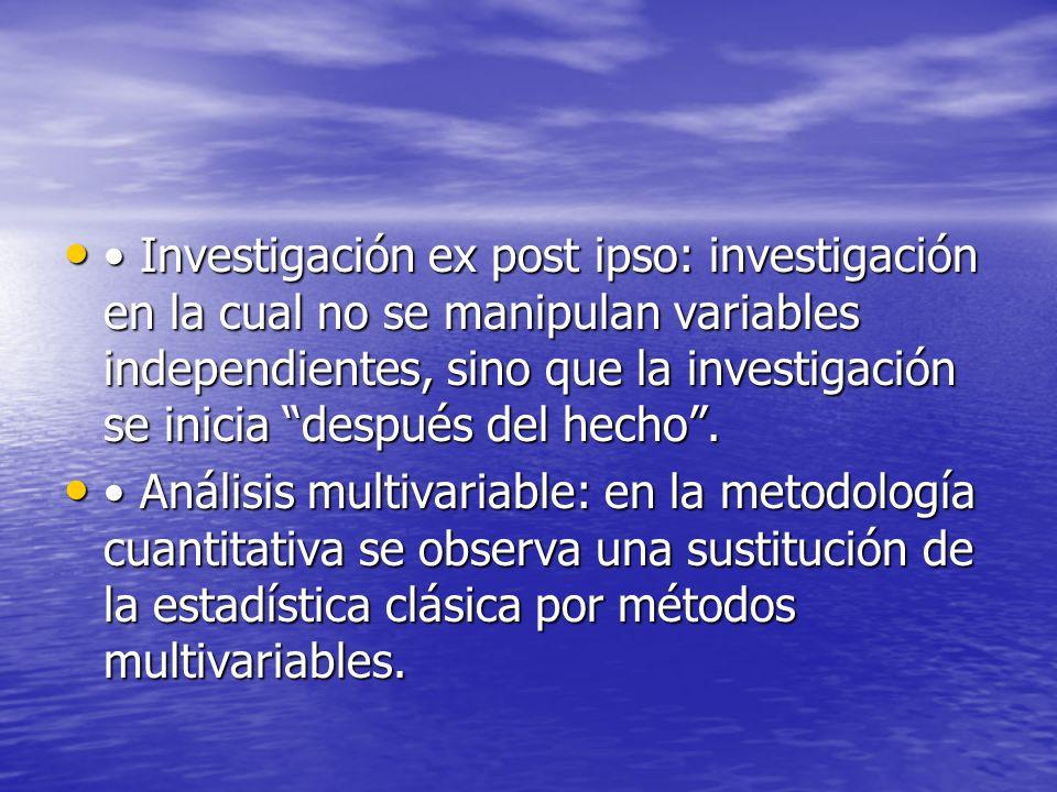 Investigación ex post ipso: investigación en la cual no se manipulan variables independientes, sino que la investigación se inicia después del hecho.