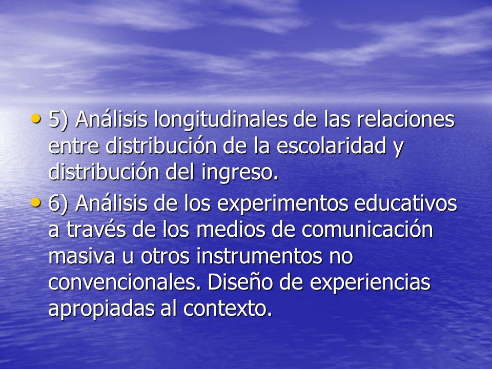 5) Análisis longitudinales de las relaciones entre distribución de la escolaridad y distribución del ingreso. 5) Análisis longitudinales de las relaci