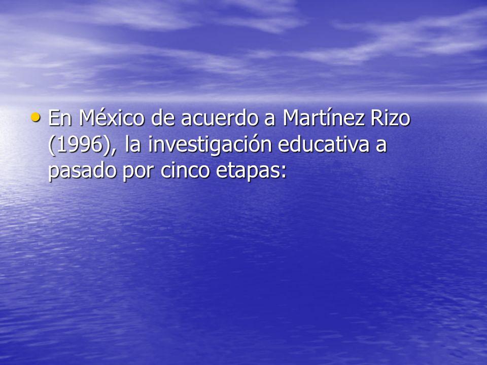 En México de acuerdo a Martínez Rizo (1996), la investigación educativa a pasado por cinco etapas: En México de acuerdo a Martínez Rizo (1996), la inv