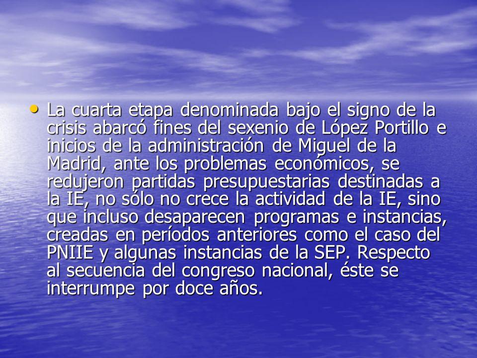 La cuarta etapa denominada bajo el signo de la crisis abarcó fines del sexenio de López Portillo e inicios de la administración de Miguel de la Madrid