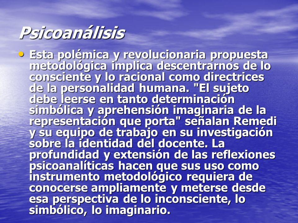 Psicoanálisis Esta polémica y revolucionaria propuesta metodológica implica descentrarnos de lo consciente y lo racional como directrices de la person