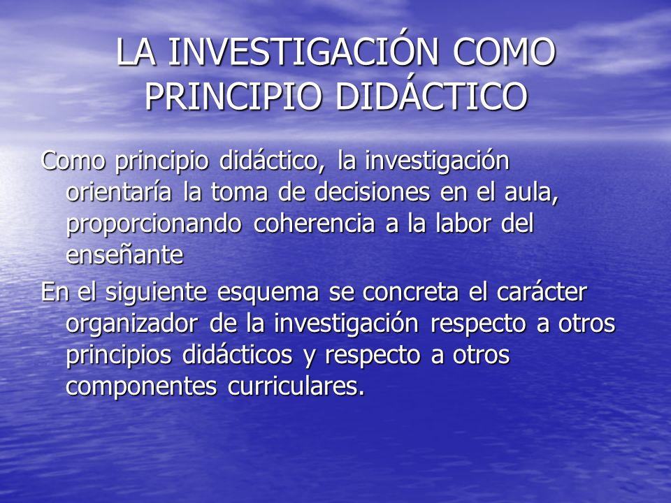 LA INVESTIGACIÓN COMO PRINCIPIO DIDÁCTICO Como principio didáctico, la investigación orientaría la toma de decisiones en el aula, proporcionando coher