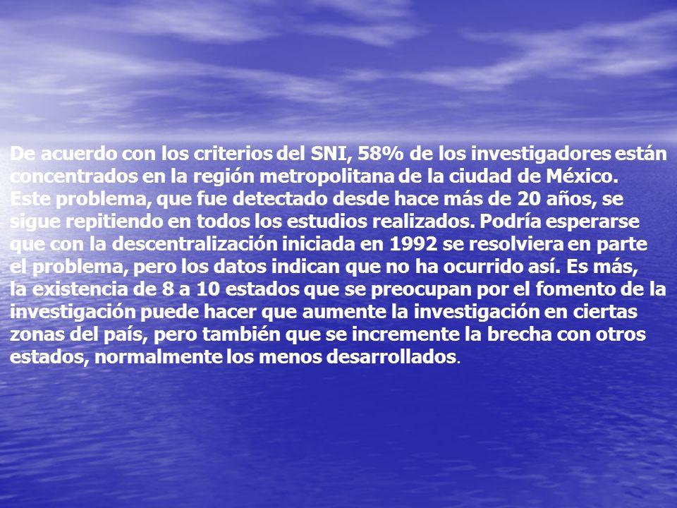 De acuerdo con los criterios del SNI, 58% de los investigadores están concentrados en la región metropolitana de la ciudad de México. Este problema, q