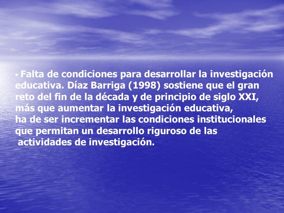 Falta de condiciones para desarrollar la investigación educativa. Díaz Barriga (1998) sostiene que el gran reto del fin de la década y de principio de