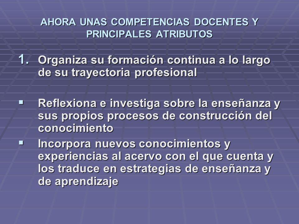 AHORA UNAS COMPETENCIAS DOCENTES Y PRINCIPALES ATRIBUTOS 1. Organiza su formación continua a lo largo de su trayectoria profesional Reflexiona e inves