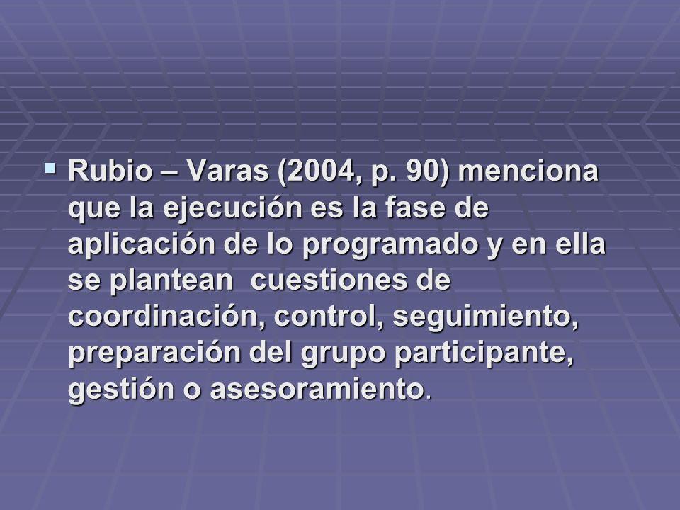 Rubio – Varas (2004, p. 90) menciona que la ejecución es la fase de aplicación de lo programado y en ella se plantean cuestiones de coordinación, cont