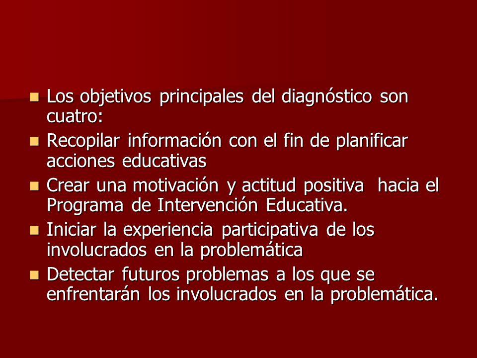 Los objetivos principales del diagnóstico son cuatro: Los objetivos principales del diagnóstico son cuatro: Recopilar información con el fin de planif