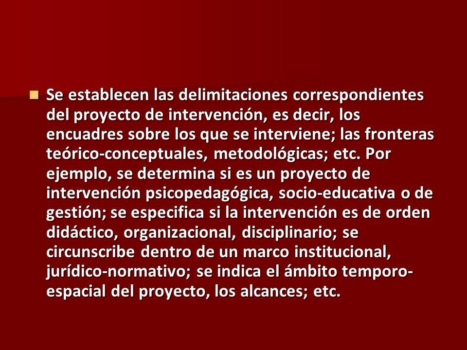 Se establecen las delimitaciones correspondientes del proyecto de intervención, es decir, los encuadres sobre los que se interviene; las fronteras teó