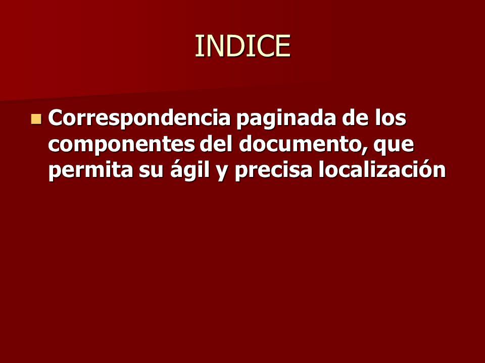 INDICE Correspondencia paginada de los componentes del documento, que permita su ágil y precisa localización Correspondencia paginada de los component