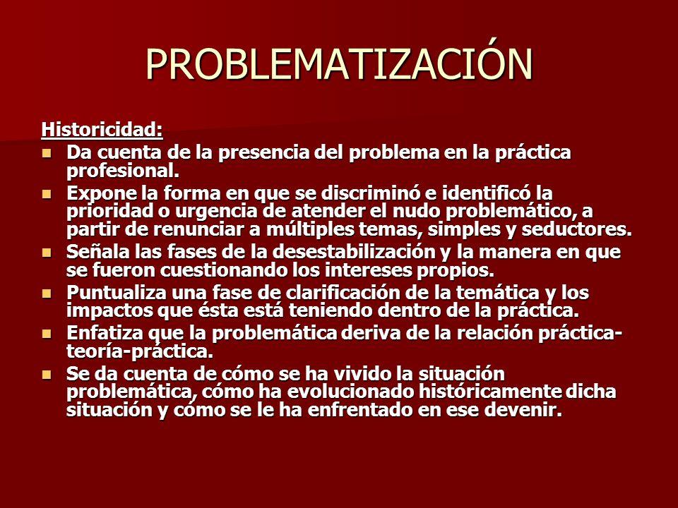 PROBLEMATIZACIÓN Historicidad: Da cuenta de la presencia del problema en la práctica profesional. Da cuenta de la presencia del problema en la práctic