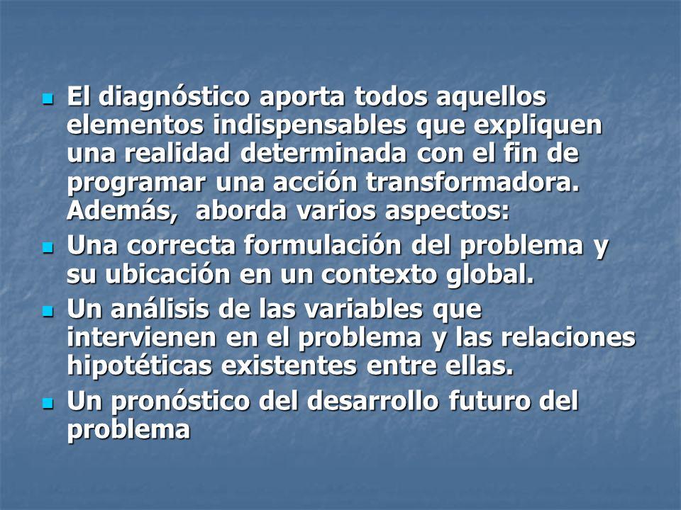 El diagnóstico aporta todos aquellos elementos indispensables que expliquen una realidad determinada con el fin de programar una acción transformadora