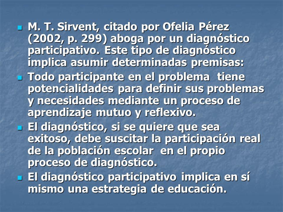 M. T. Sirvent, citado por Ofelia Pérez (2002, p. 299) aboga por un diagnóstico participativo. Este tipo de diagnóstico implica asumir determinadas pre