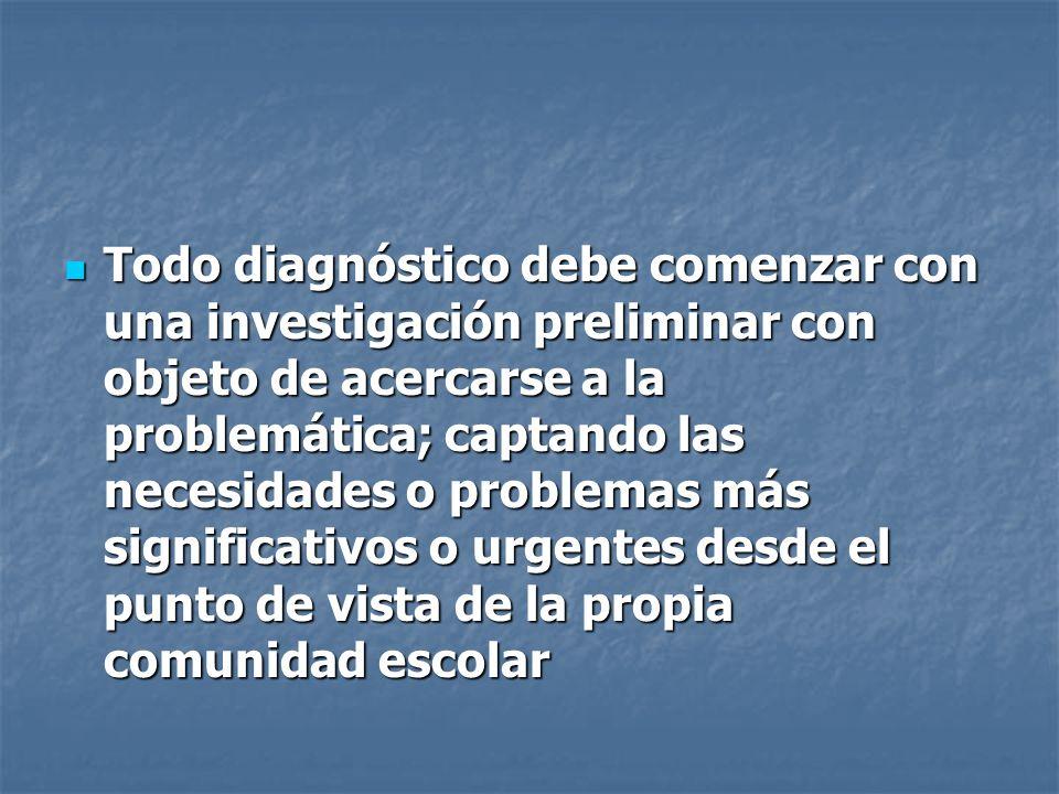 Todo diagnóstico debe comenzar con una investigación preliminar con objeto de acercarse a la problemática; captando las necesidades o problemas más si