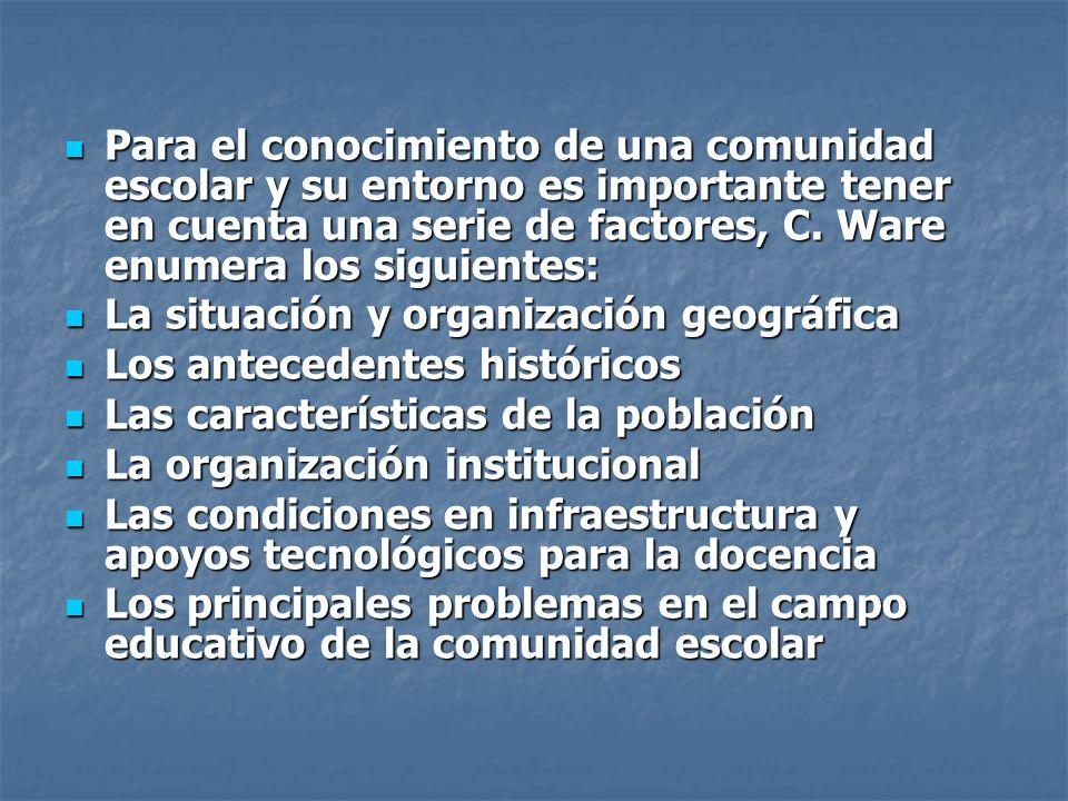 Para el conocimiento de una comunidad escolar y su entorno es importante tener en cuenta una serie de factores, C. Ware enumera los siguientes: Para e