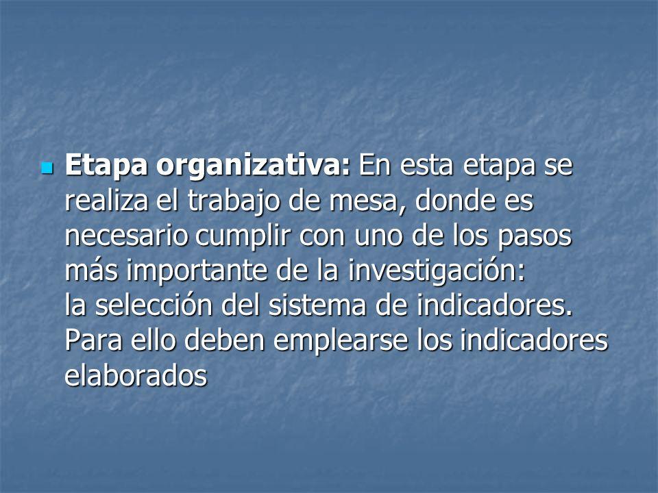 Etapa organizativa: En esta etapa se realiza el trabajo de mesa, donde es necesario cumplir con uno de los pasos más importante de la investigación: l