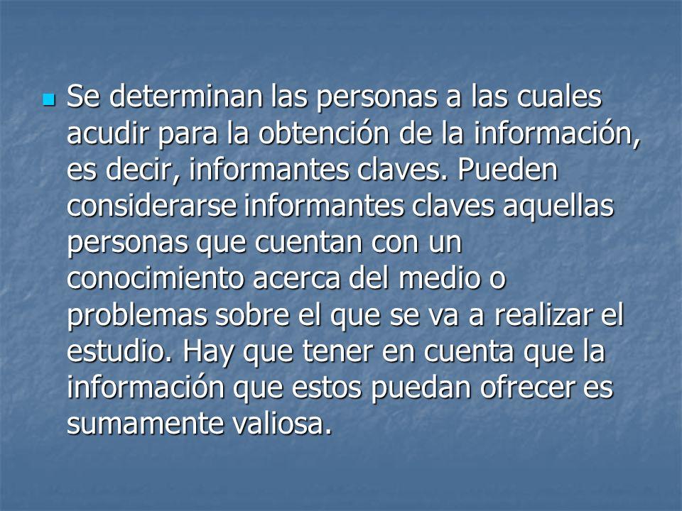 Se determinan las personas a las cuales acudir para la obtención de la información, es decir, informantes claves. Pueden considerarse informantes clav