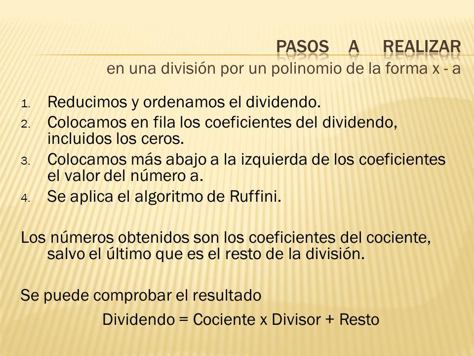14 0- 5 Cociente: x 2 + 7x + 21 Resto: 58 Realiza la división (x 3 + 4x 2 – 5) : (x – 3) 1.