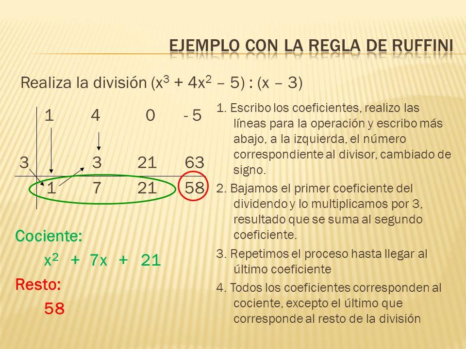14 0- 5 Cociente: x 2 + 7x + 21 Resto: 58 Realiza la división (x 3 + 4x 2 – 5) : (x – 3) 1. Escribo los coeficientes, realizo las líneas para la opera