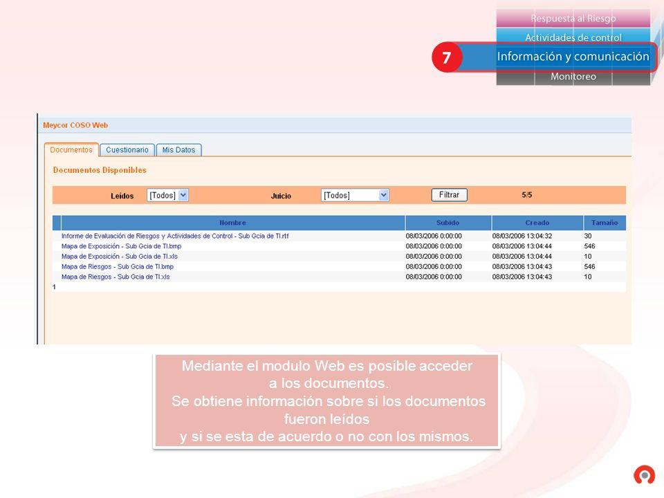 Mediante el modulo Web es posible acceder a los documentos. Se obtiene información sobre si los documentos fueron leídos y si se esta de acuerdo o no
