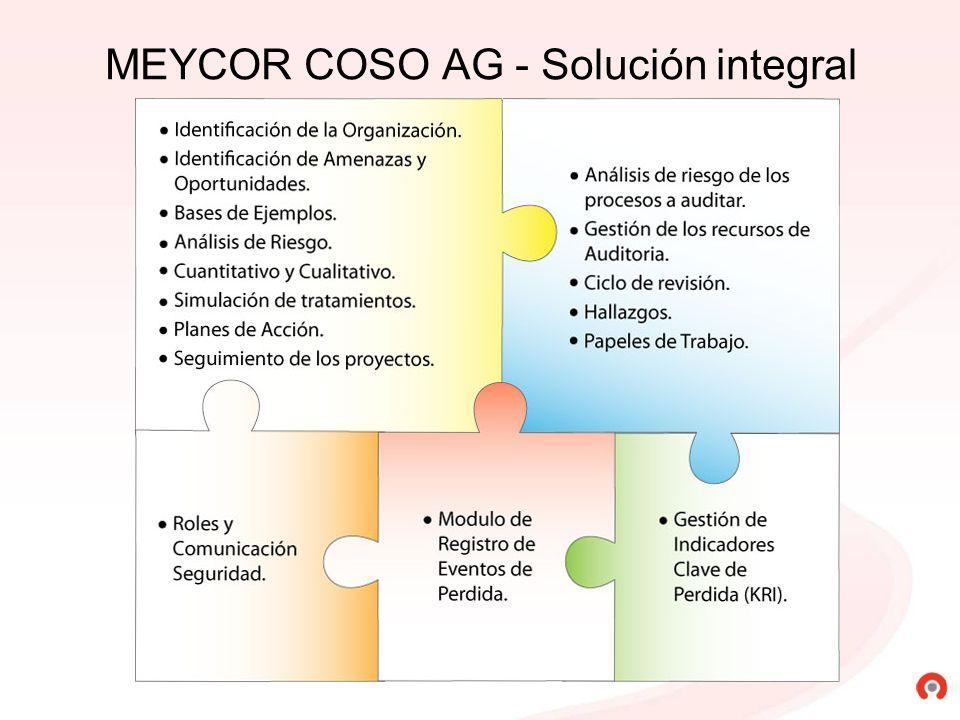 Los planes de acción definidos para mejorar los controles pueden ser gestionados con Meycor Coso AG Los planes de acción definidos para mejorar los controles pueden ser gestionados con Meycor Coso AG