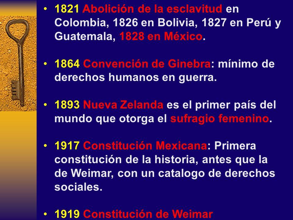 1821 Abolición de la esclavitud en Colombia, 1826 en Bolivia, 1827 en Perú y Guatemala, 1828 en México. 1864 Convención de Ginebra: mínimo de derechos