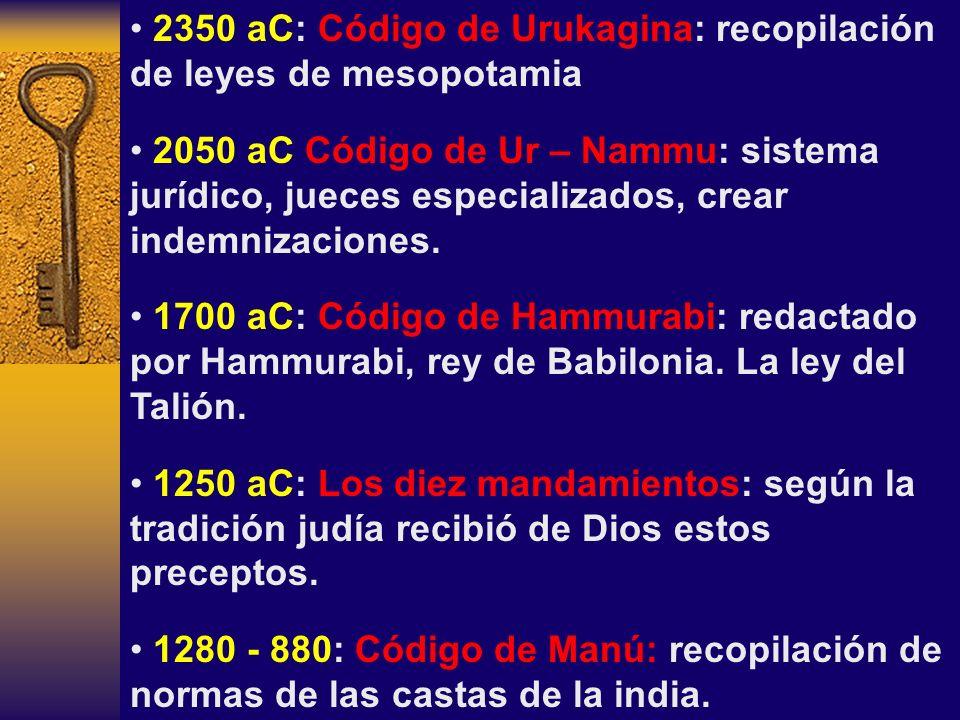 2350 aC: Código de Urukagina: recopilación de leyes de mesopotamia 2050 aC Código de Ur – Nammu: sistema jurídico, jueces especializados, crear indemn