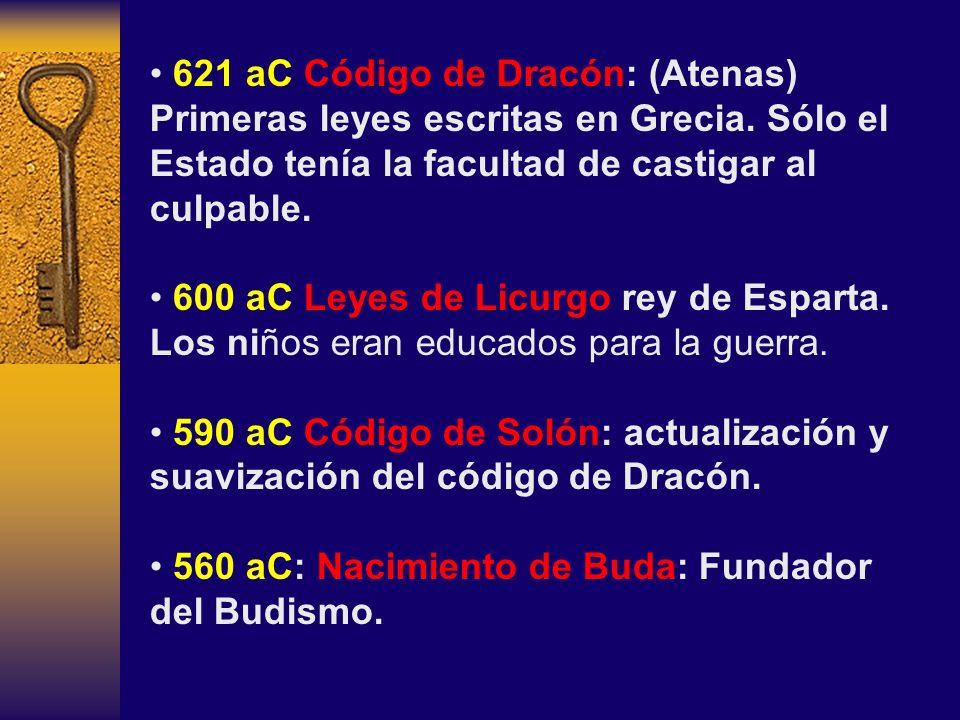 621 aC Código de Dracón: (Atenas) Primeras leyes escritas en Grecia. Sólo el Estado tenía la facultad de castigar al culpable. 600 aC Leyes de Licurgo