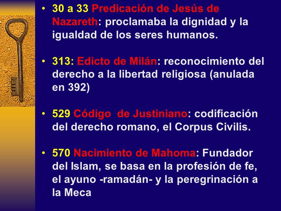 30 a 33 Predicación de Jesús de Nazareth: proclamaba la dignidad y la igualdad de los seres humanos. 313: Edicto de Milán: reconocimiento del derecho