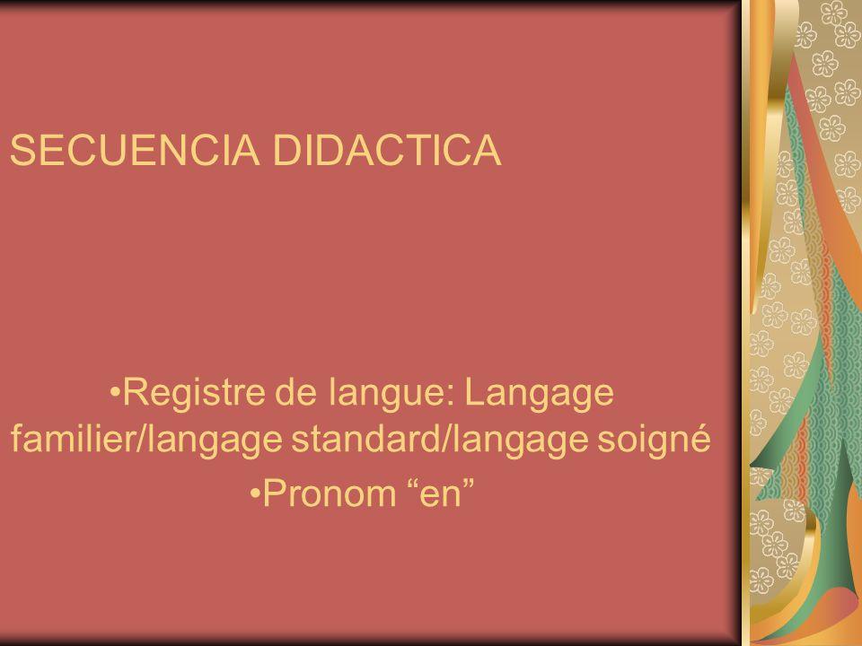 SECUENCIA DIDACTICA Registre de langue: Langage familier/langage standard/langage soigné Pronom en