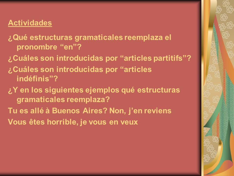 Actividades ¿Qué estructuras gramaticales reemplaza el pronombre en? ¿Cuáles son introducidas por articles partitifs? ¿Cuáles son introducidas por art