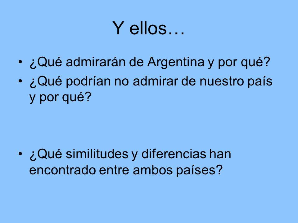 Y ellos… ¿Qué admirarán de Argentina y por qué. ¿Qué podrían no admirar de nuestro país y por qué.