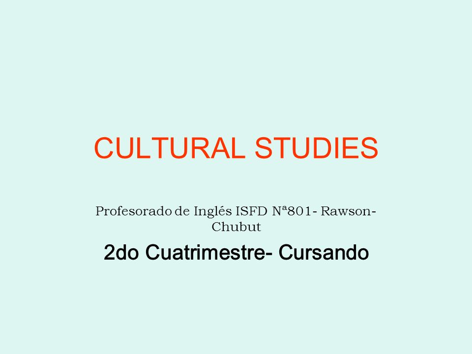 Group Profile Group: Young adults English level: intermediate level Institution: Training School- Profesorado de Inglés Estatal Subject: Cultural Studies