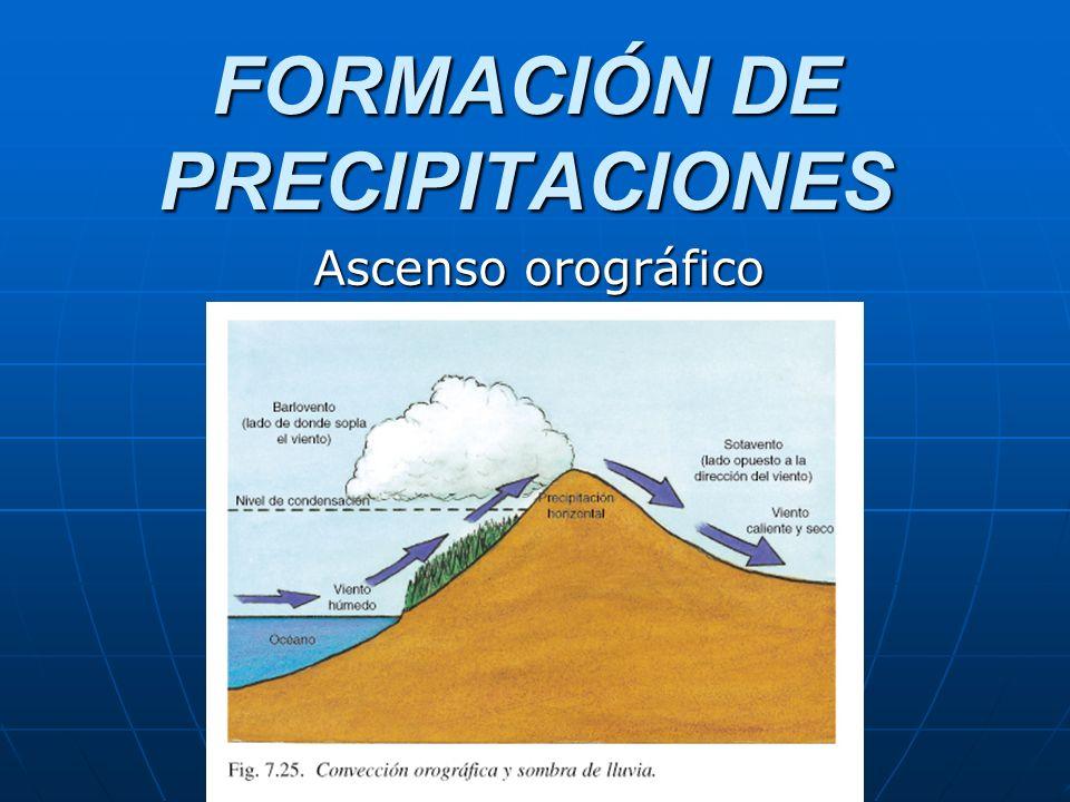 FORMACIÓN DE PRECIPITACIONES Ascenso orográfico