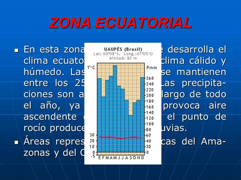ZONA ECUATORIAL En esta zona, 10ºN-10ºS, se desarrolla el clima ecuatorial, que es un clima cálido y húmedo.