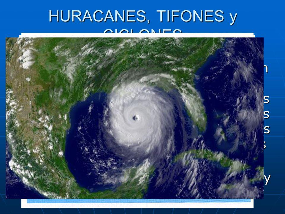 HURACANES, TIFONES y CICLONES Con estos nombres se denomina a un mismo fénómeno atomosférico: torbellinos de fuertes vientos y lluvias torrenciales que se producen a finales de verano y principios de otoño en las zonas tropicales y las extratropicales de latitudes medias.