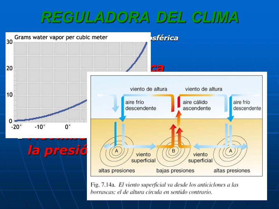 REGULADORA DEL CLIMA Convección térmica Convección térmica Convección por humedad Convección por humedad Humedad absolutaHumedad absoluta Humedad relativaHumedad relativa Movimientos verticales debidos a la presión atmosférica Movimientos verticales debidos a la presión atmosférica Dinámica atmosférica