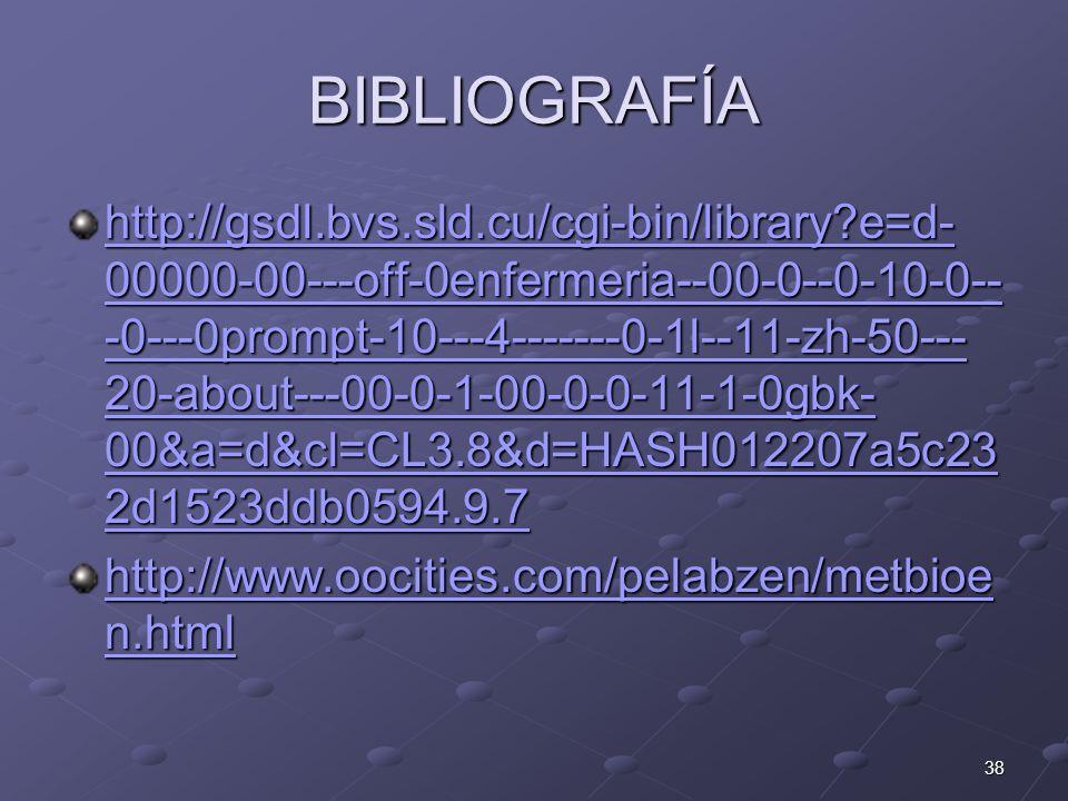 38 BIBLIOGRAFÍA http://gsdl.bvs.sld.cu/cgi-bin/library?e=d- 00000-00---off-0enfermeria--00-0--0-10-0-- -0---0prompt-10---4-------0-1l--11-zh-50--- 20-