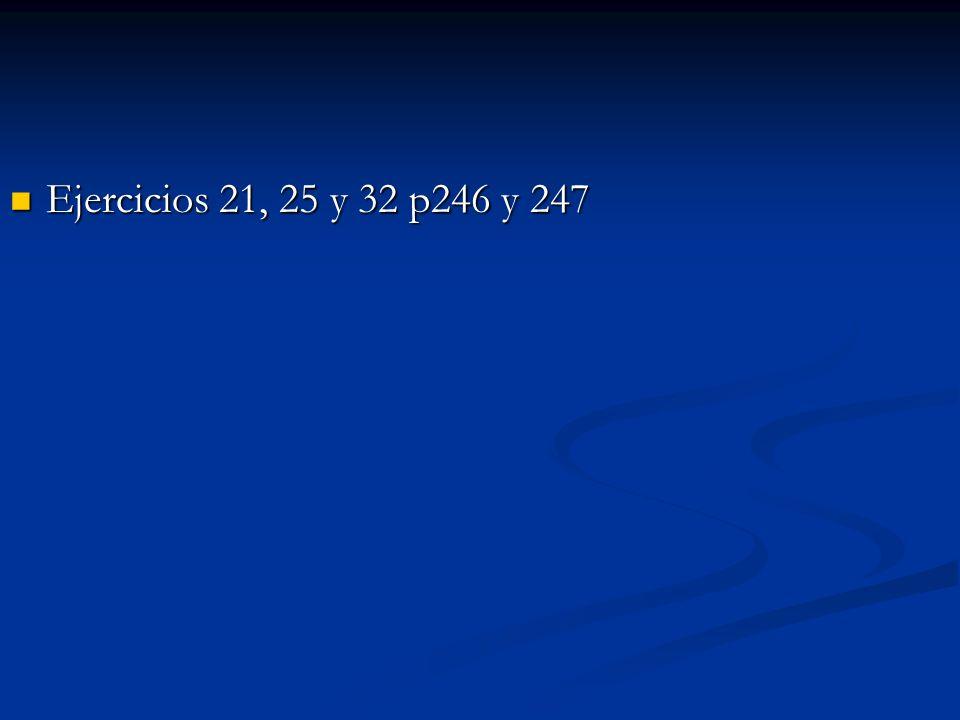 Ejercicios 21, 25 y 32 p246 y 247 Ejercicios 21, 25 y 32 p246 y 247
