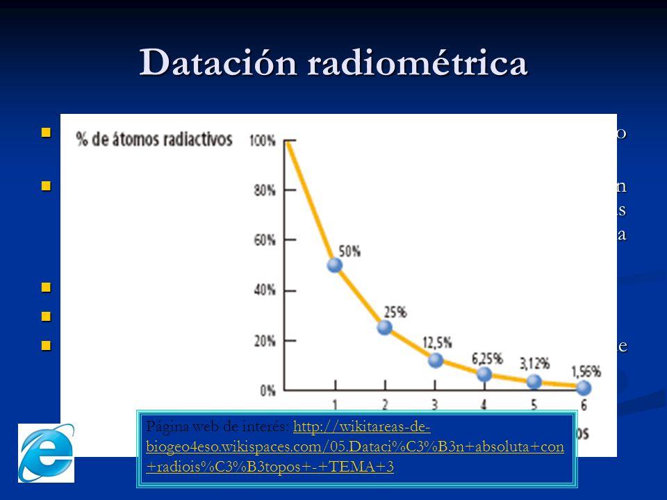 Datación radiométrica Isótopo: atómos de un mismo elemento que tienen distinto número másico (ej.: hidrógeno H 1 1, deuterio H 2 1 y tritioH 3 1 ). Is