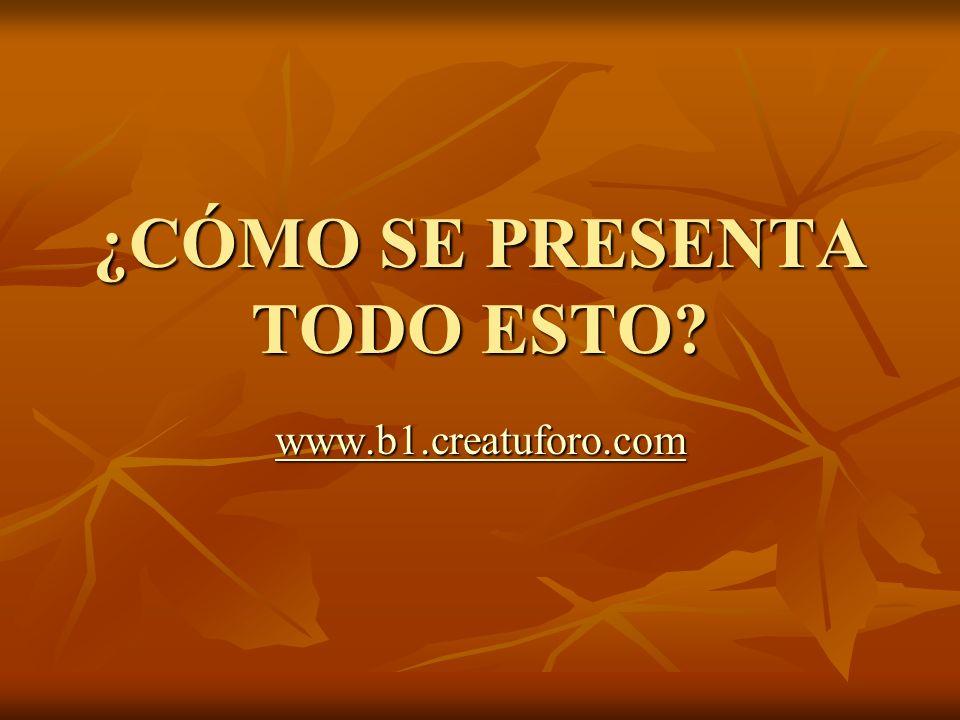 ¿CÓMO SE PRESENTA TODO ESTO www.b1.creatuforo.com