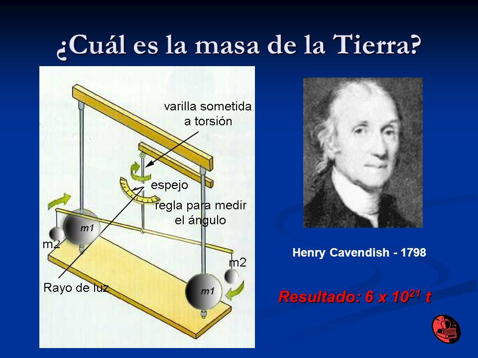 ¿Cuál es la masa de la Tierra? Henry Cavendish - 1798 Resultado: 6 x 10 21 t