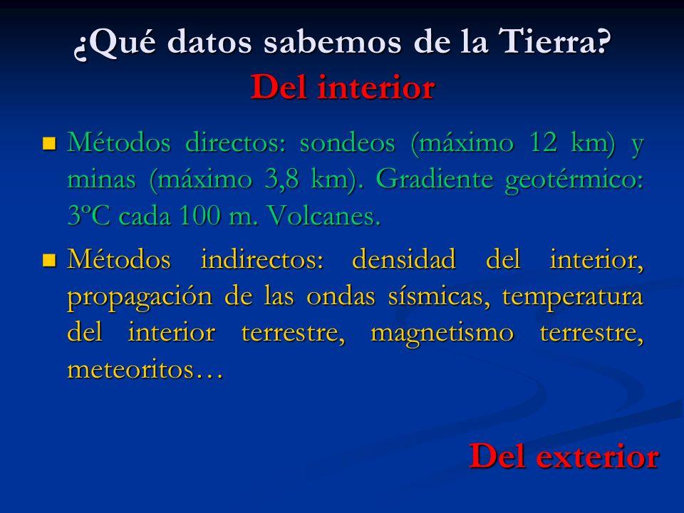 ¿Qué datos sabemos de la Tierra? Del interior Métodos directos: sondeos (máximo 12 km) y minas (máximo 3,8 km). Gradiente geotérmico: 3ºC cada 100 m.