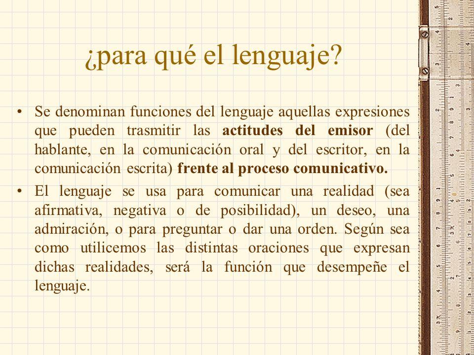¿para qué el lenguaje? Se denominan funciones del lenguaje aquellas expresiones que pueden trasmitir las actitudes del emisor (del hablante, en la com