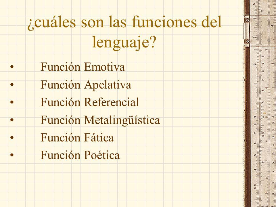 ¿cuáles son las funciones del lenguaje? Función Emotiva Función Apelativa Función Referencial Función Metalingüística Función Fática Función Poética