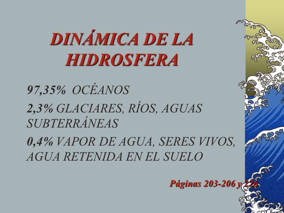 DINÁMICA DE LA HIDROSFERA 97,35% OCÉANOS 2,3% GLACIARES, RÍOS, AGUAS SUBTERRÁNEAS 0,4% VAPOR DE AGUA, SERES VIVOS, AGUA RETENIDA EN EL SUELO Páginas 203-206 y 226