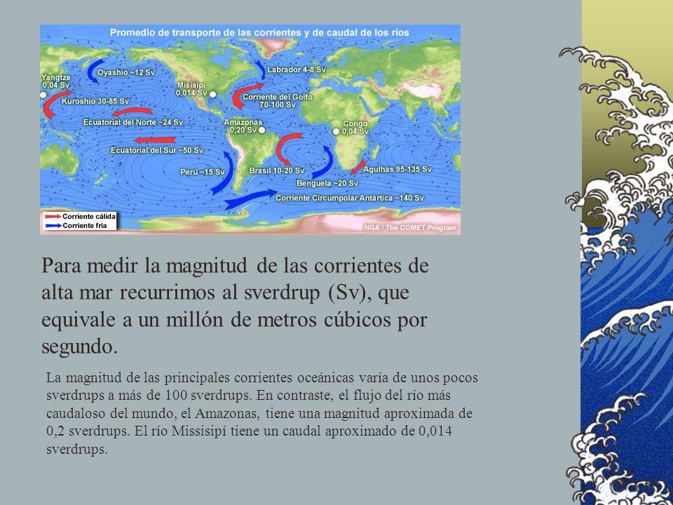 En aguas someras (corrientes costeras): Las mareas se vuelven importantes. La fricción y la batimetría afectan las corrientes en mayor medida. La esco